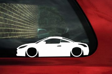 2x LOW peugeot RCZ coupe silhouette outline bumper / window stickers , decals